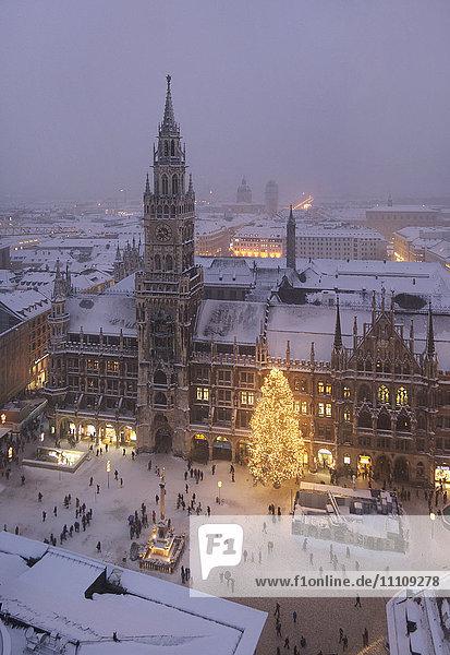 Weihnachtsmarkt  Marienplatz  München  Bayern  Deutschland  Europa