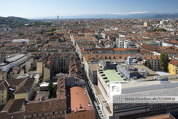 Italy  Piedmont  Turin  panorama view of the city from The Mole Antonelliana