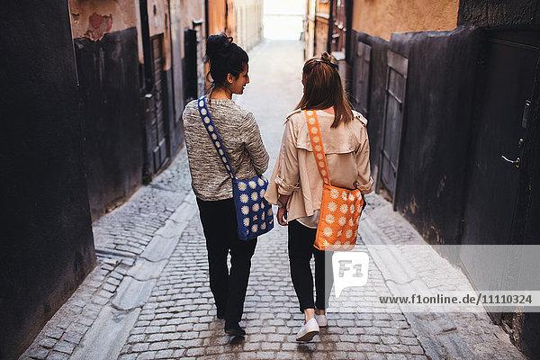 Rückansicht von Freunden  die beim Spaziergang durch die Gasse inmitten von Gebäuden in der Stadt sprechen.