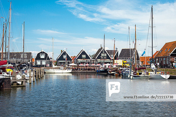 Amsterdam  Waterland district  Marken  boats in the little harbour of the village