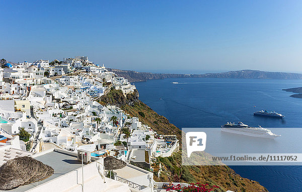 Greece  Cyclades  Santorini island  Fira  cityscape