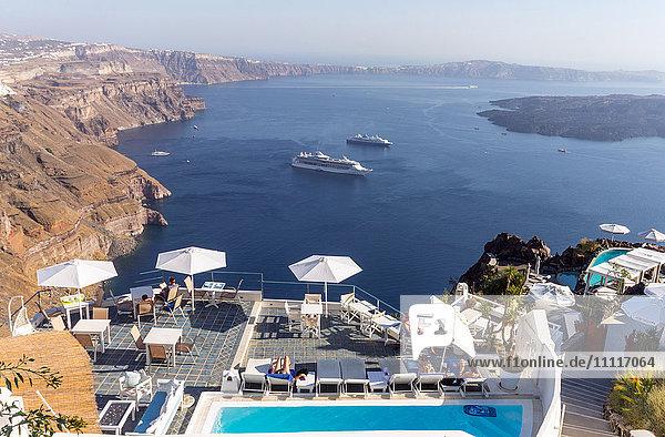 Greece  Cyclades  Santorini island  Fira  view on the caldera
