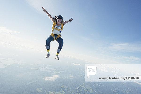 Woman skydiving
