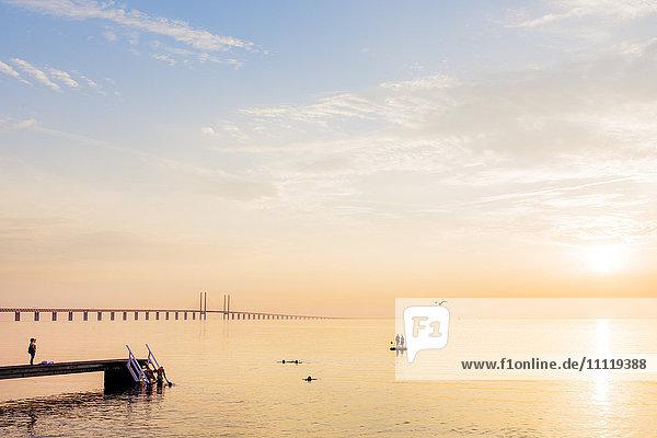 Schweden  Skane  Malmö  Sibbarp  Meer bei Sonnenuntergang  Öresundbrücke im Hintergrund