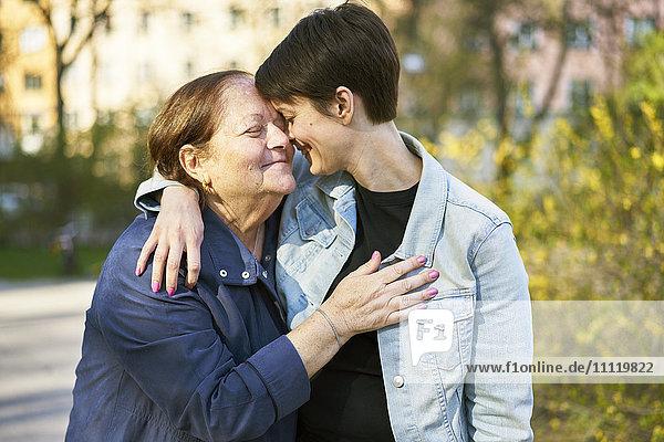 Sweden  Uppland  Stockholm  Kungsholmen  Two women embracing