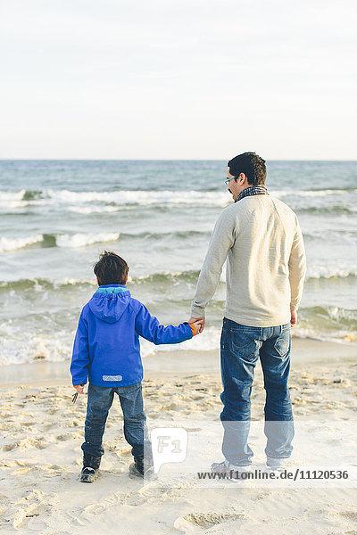 Schweden,  Skane,  Ahus,  Aspet,  Rückansicht von Vater und Sohn (8-9) am Strand