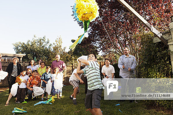Hispanic family breaking pinata in backyard