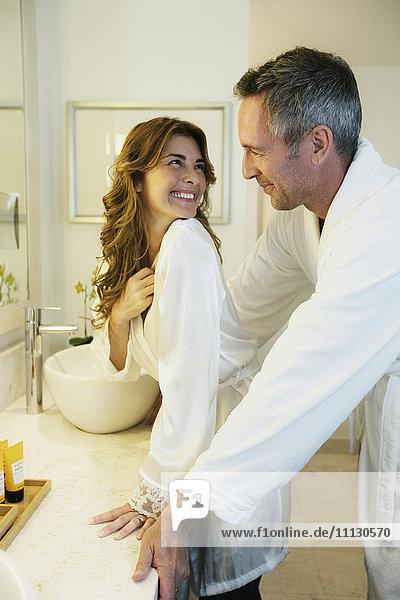 Couple in bathrobes