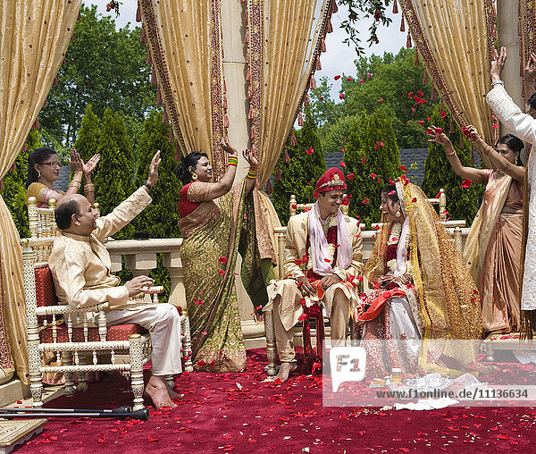 Indian bride and groom at wedding