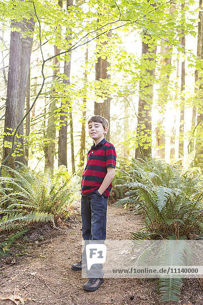 Caucasian boy standing on path in forest