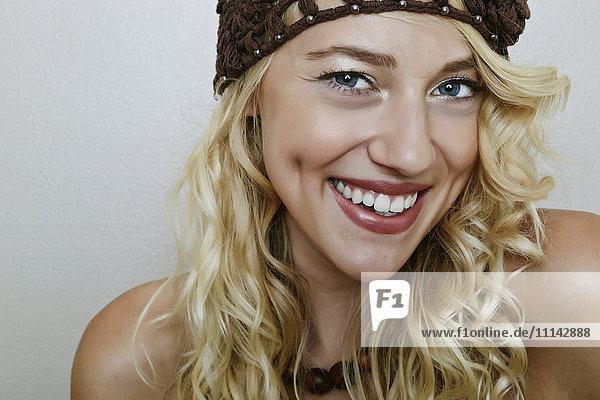 Caucasian woman smiling Caucasian woman smiling