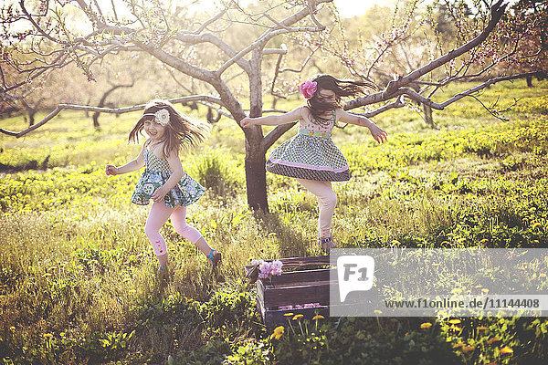 Girls playing in rural field Girls playing in rural field