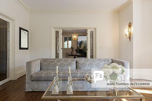 Sofa and coffee table in ornate living room