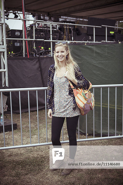 Woman smiling at festival