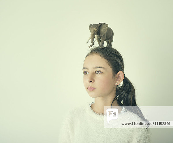 Mixed race girl holding toy elephant on head
