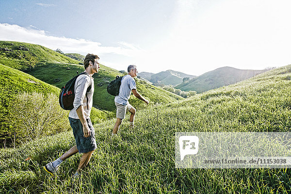 Caucasian father and son walking on grassy hillside Caucasian father and son walking on grassy hillside