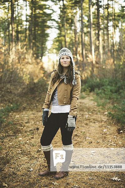 Caucasian woman standing in park