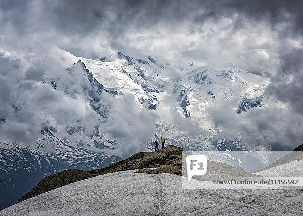 Frankreich  Chamonix  Alpen  Mont Blanc  Bergsteiger
