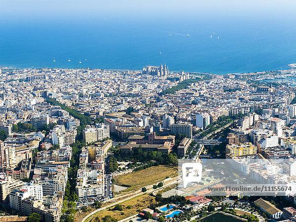 Spanien  Mallorca  Palma de Mallorca  Luftaufnahme von Altstadt und Bucht