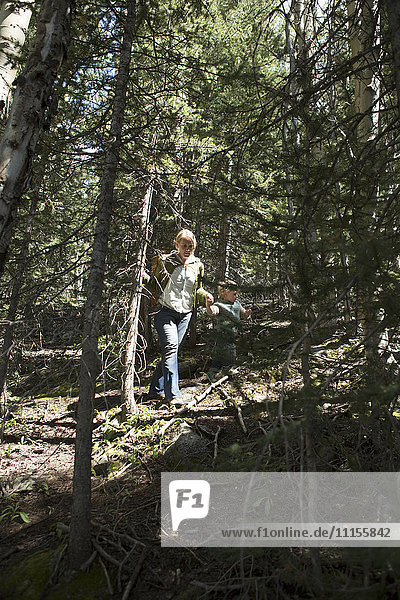Woman walking on forested hillside