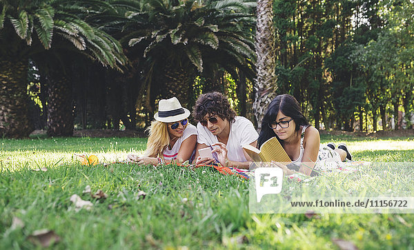 Friends in park reading book and using cell phone