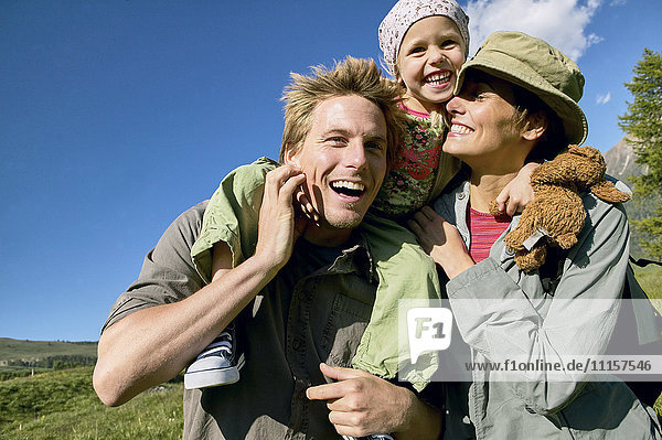Happy family on a hiking trip