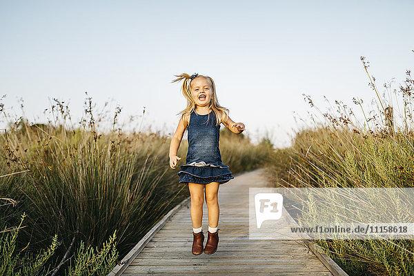 Fröhliches kleines Mädchen  das auf einer Strandpromenade in der Natur springt. Fröhliches kleines Mädchen, das auf einer Strandpromenade in der Natur springt.