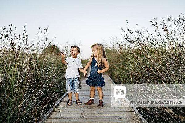 Zwei kleine Kinder spielen zusammen auf einer Strandpromenade in der Natur.