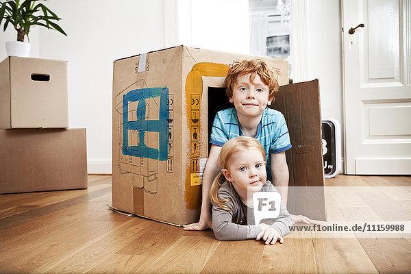 Bruder und Schwester schauen aus dem Karton in der neuen Wohnung Bruder und Schwester schauen aus dem Karton in der neuen Wohnung