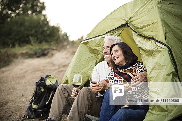 Happy senior couple sitting with wine in a tent
