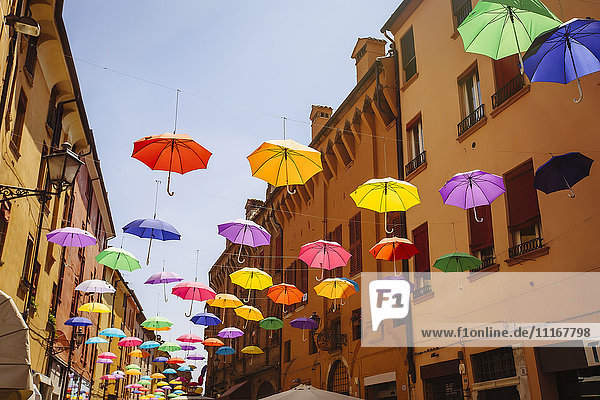 Multicolor umbrellas hanging outdoors  Bologna  Emilia-Romagna  Italy