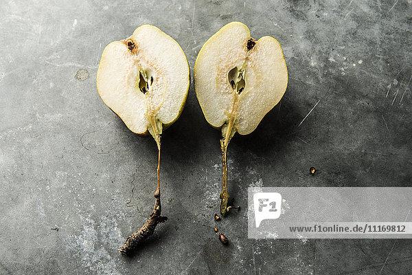 Halves of split pear