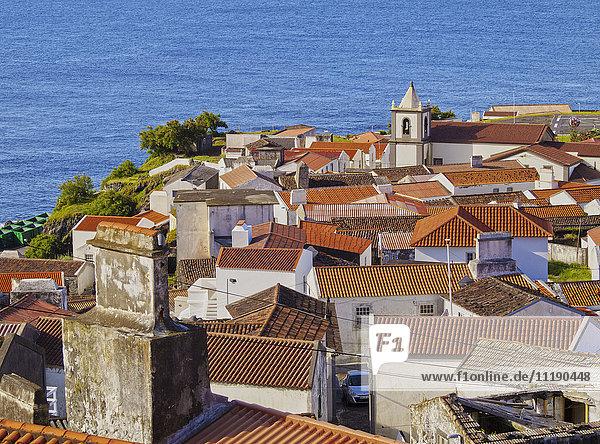 Portugal  Azores  Corvo  Vila do Corvo  Elevated view of the town.