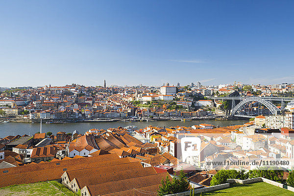 Portugal  Douro Litoral  Porto. The view towards the old town of Porto and the Ribeira district from Vila Nova De Gaia.