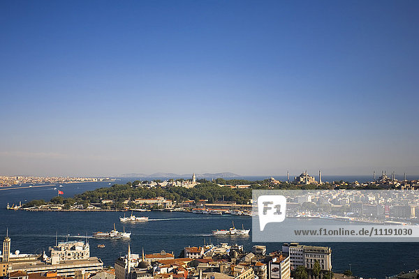 View of Bosphorus from Galata Tower  Istanbul  Turkey