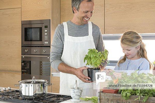 Kleines Mädchen und ihr Vater bereiten das Essen in der Küche zu.