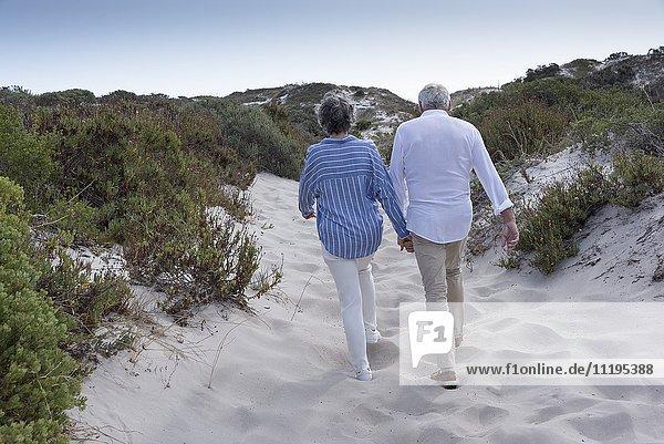 Rückansicht des Seniorenpaares beim Spaziergang am Strand