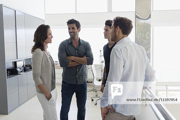 Geschäftsfrau im Gespräch mit ihren Amtskollegen