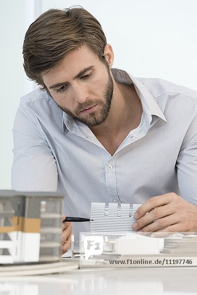 Contractor analyzing house model at office