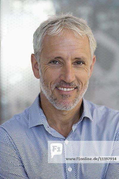 Porträt eines glücklichen Geschäftsmannes in einem Büro