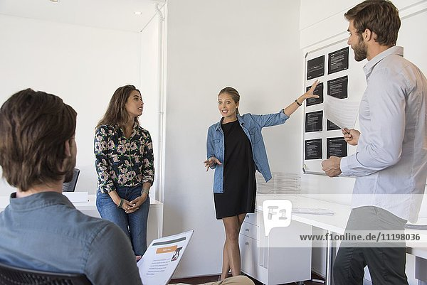 Glückliche Geschäftsfrau bei der Präsentation vor ihren Kollegen