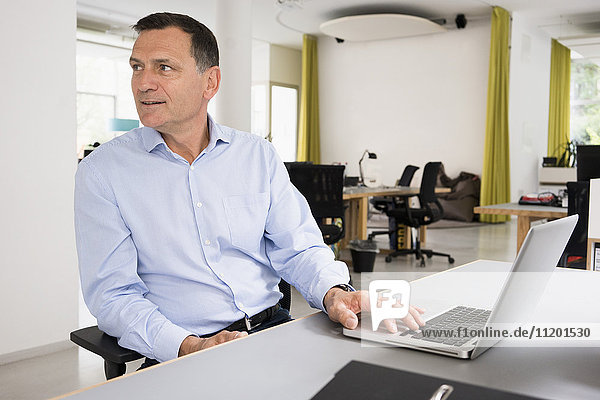 Smiling businessman working on laptop at desk in creative office