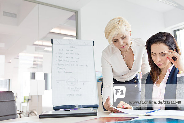Businesswomen reviewing project at desk in office