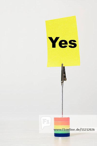 Reminder note saying yes