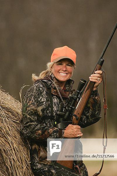 Female hunting deer