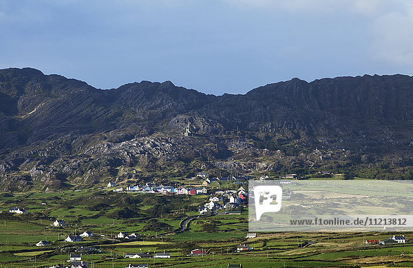 'Rugged mountains and the town of Allihies; Allihies  County Cork  Ireland'