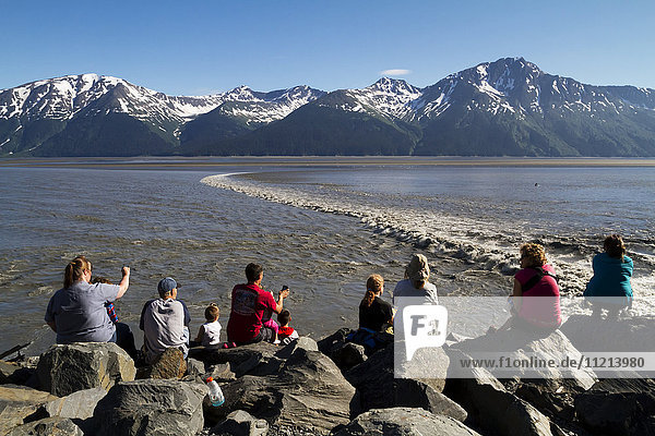 People watching the bore tide in Turnagain Arm at Mile 94 of the Seward Highway. Summer. Southcentral Alaska.