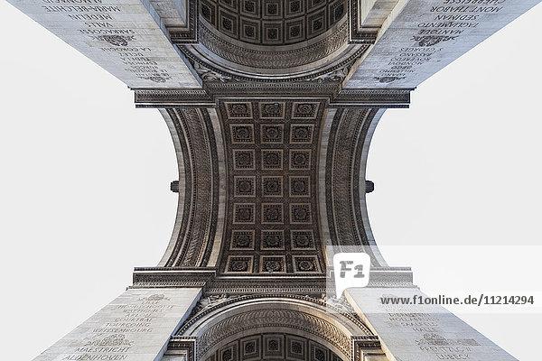 'Upwards view of Arc de Triomphe; Paris  France'