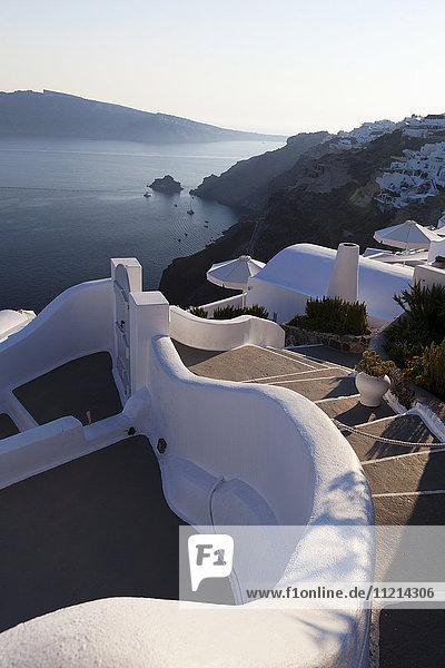 'Steps and white walls; Fira  Santorini  Greece'