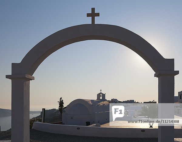 'Archway and church; Fira  Santorini  Greece'